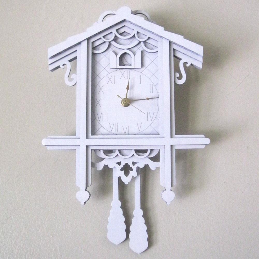 White Cuckoo Clock Modern Laser Cut Cardboard Wall By