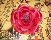 FRIDA--calavera and rose clip---ready to ship---RED