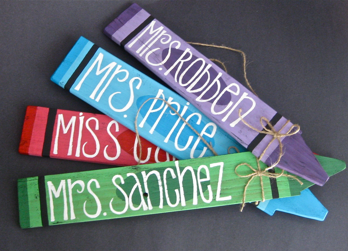 Crayon name plate customizable wall hanging teacher by for Door name signs