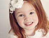 White flower on skinny headband