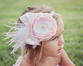 Pink and white flower headband with silk bow
