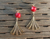 Red coral earrings with gold filigree