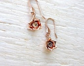 Rose gold earrings with rose gold roses, handmade earrings, handmade rose gold