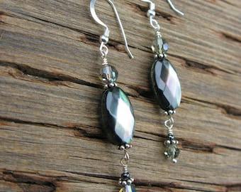 Black shell earrings with Swarovski crystals, handmade earrings, black mother of pearl