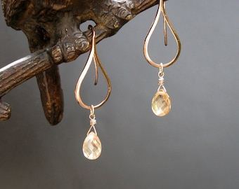 Rose gold earrings with champagne CZ, handmade rose gold