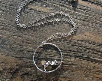 Silver hummingbird necklace, handmade necklace, hummingbird jewelry