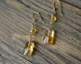 Handmade Citrine earrings, citrine and 14k gold fill, HANDMADE, gold earrings