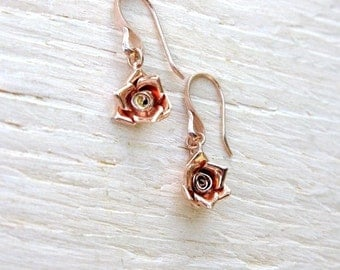 Rose gold earrings with rose gold roses, handmade rose gold