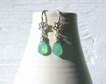 Tiny lotus earrings, sterling silver earrings, green chrysoprase earrings, handmade earrings