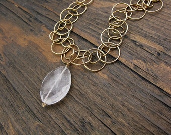 Unique gold necklace, crystal quartz necklace, handmade necklace, natural crystal