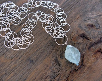 Aquamarine necklace, sterling silver and aquamarine, handmade aquamarine necklace