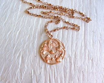 Rose gold necklace, round thistle pendant, Scottish jewelry