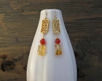 Handmade citrine earrings, handmade earrings, HANDMADE