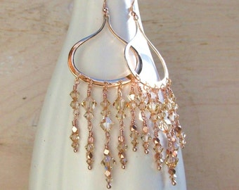 Rose gold earrings, rose gold chandelier earrings, handmade rose gold