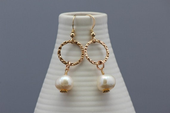 Rose gold earrings with large white natural pearls, handmade rose gold earrings