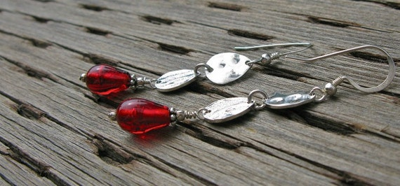 Red earrings, sterling silver and glass