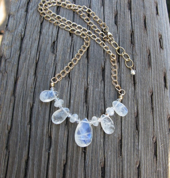 Moonstone necklace on 14k gold fill chain
