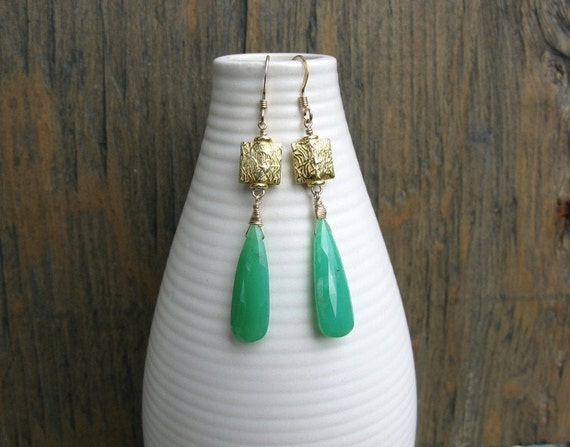Green chrysoprase earrings, 14k gold fill and gold vermeil