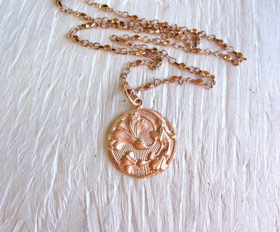 Rose gold necklace, round thistle pendant