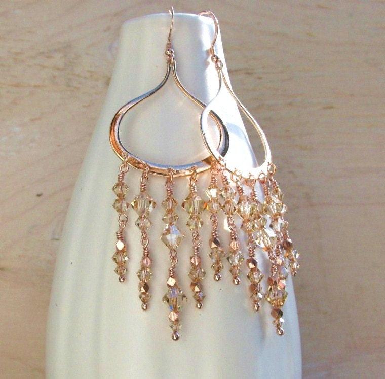 Rose gold earrings rose gold chandelier earrings handmade
