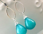 Bold Blue Smooth Jade Teardrop Earrings