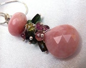 RESERVED SET. Pink Peruvian Opal and Watermelon Tourmaline Pendant Necklace and Earrings on Sterling Silver