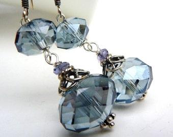 Smokey Blue Swarovski Drop Earrings. Sterling Silver.Bridal. Bridesmaid. Wedding.