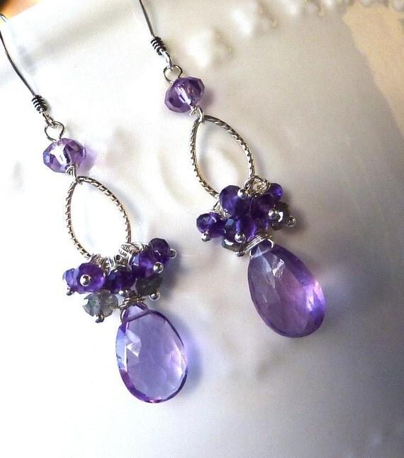 Purple Amethyst Earrings. Gift.  Lavender. Sterling Silver. Fashion. LAST One.