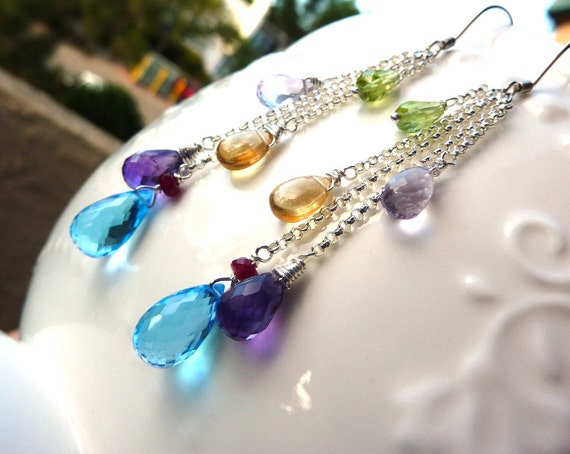 Luxe Drop Gem and Sterling Silver Chain Earrings December, February Birthstone