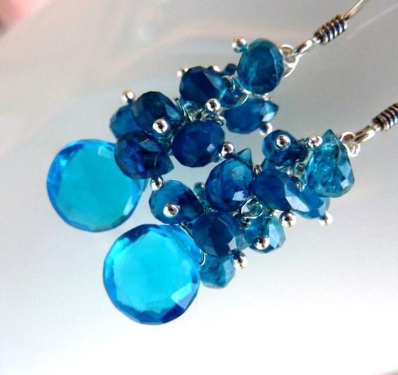 RESERVED. Neon. Vibrant Glowing Teal Blue Quartz, Teal Apatite, Cluster Earrings. LAST ONE. Beadwork Dangle.