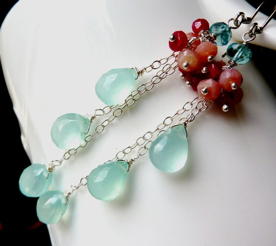 Cluster of Apatite, Pink Peruvian Opal, Genuine Raspberry Ruby and Cascade of Cool Blue Chalcedony. Dangly. Ready to Ship.