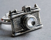 Camera Ring in Antiqued Silver. Last One.