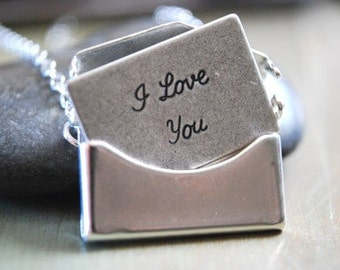Silver Envelope Necklace Removable I Love You Letter