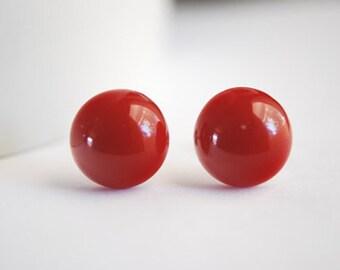 Red Post Earrings Resin Dot Stud Earrings