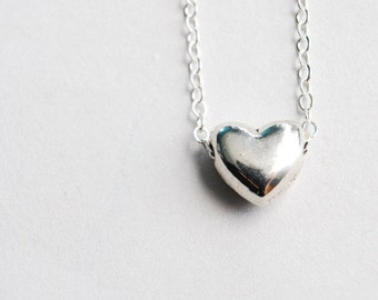 Silver Heart Necklace. Beaded Heart Necklace