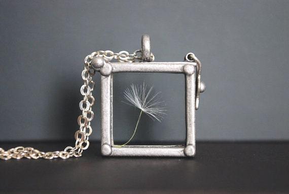 Dandelion Necklace. Dandelion Locket Necklace.