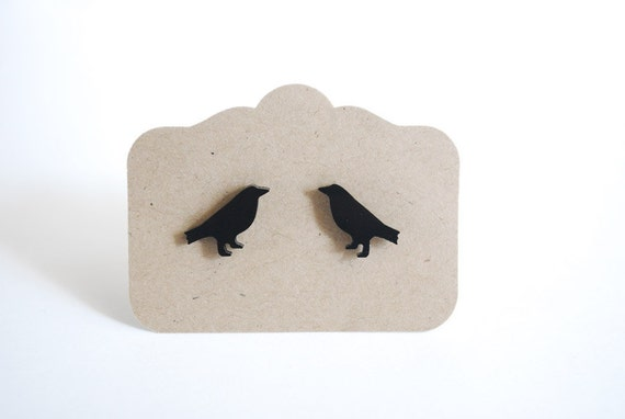 Black Bird Earrings. Raven Post Earrings