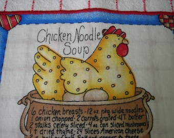 CHICKEN Noodle Soup Recipe Dish Towel Rooster Kitchen Hand Towel Red and White