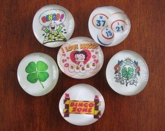SALE LUCKY BINGO Magnets Strong Glass Bubble Magnets