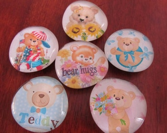 TEDDY BEAR Glass Bubble MAGNETS Free Shipping