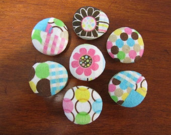 OH HAPPY DAY Magnets Pretty Springtime Easter Fabric Covered Glass Bubble Magnets
