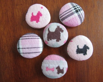 SCOTTISH TERRIER MAGNETS Pink Brown Grey Plaid Fabric Magnets for Scotty Dog Lovers