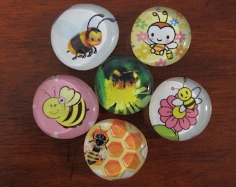 BEE MY HONEY Glass Bubble Bee Magnets