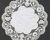 Antique Small Figural Lace Doily with Human Faces Early 1900s Rare