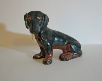 Vintage Dachshund Dog Statue with Soulful Face Black and Tan with a Patch of Cream