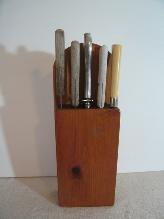 Vintage Kitchen Knife Holder Wall Mounting Wood for Upcycling or Knives