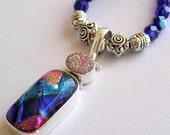 Blue Magic Dichroic Glass Pendant Beaded Necklace