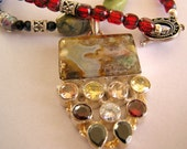 RESERVED FOR KIMBERLY -Gemstone Moss Mexican Agate Pendant Beaded Necklace