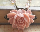 Pink Rose Necklace in Soft Vintage Pink with Antique Brass and Czech Glass Bead Details