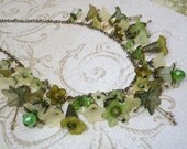 Flower Charm Necklace in Shades of Moss Green, Sage Green, Olive Green, Linen, Butter Yellow and Antique Brass